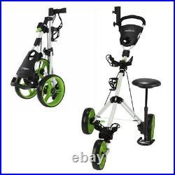 Caddymatic Golf X-TREME 3 Wheel Push/Pull Golf Cart with Seat White/Green