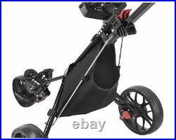 Caddytek 3 Wheel Golf Push Cart Lightweight Close Folding Push Pull Caddy Car