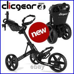 Clicgear 4.0 Golf Push Trolley Cart Black Umbrella + Drinks Holder NEW! 2021