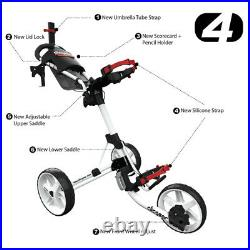 Clicgear 4.0 Golf Push Trolley Cart Silver Umbrella +Drinks Holder NEW! 2021