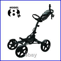 Clicgear 8.0+ 4 Wheel Push Golf Cart Trolley Black