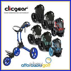 Clicgear Golf Rovic RV1C Compact 3 Wheel Push Cart Trolley + Umbrella Holder