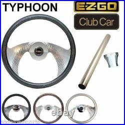 Club Car Golf Cart Typhoon Billet Steering Wheel Combo Set