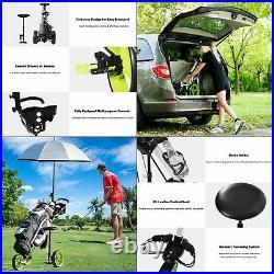 Costway Foldable 3 Wheel Push Pull Golf Cart Trolley Seat Scoreboard Bag Swivel