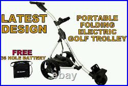 Electric Golf Trolley Digital Power Folding Cart Free Charger 36 Hole Battery