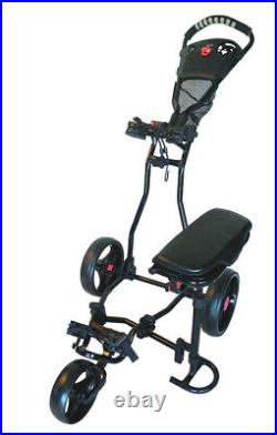 Founders Club Franklin 3 Wheel Golf Push Pull Cart with Seat Umbrella Holder