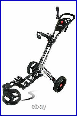 Founders Swerve 360 Swivel Wheel Qwik Fold Golf Push Cart with Deluxe Seat Black
