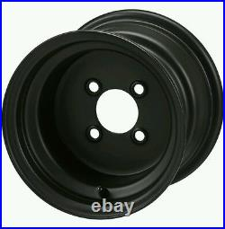 GOLF CART 10 BLACK STEEL WHEELS and 205/65-10 Green Saver TIRES