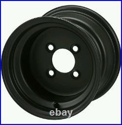 GOLF CART 10 BLACK STEEL WHEELS with 20x10-10 Black Trail II TIRES
