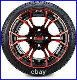 GTW 12 Spyder Red and Black Golf Cart Wheels and Tires (215-35-12) Set of 4