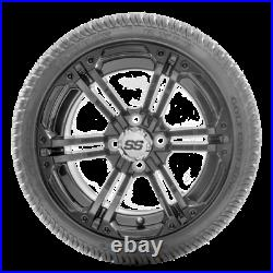 Golf Cart Wheels and Tires 14 RHOX SS RX354 Black with Low Pro Tires Set of 4