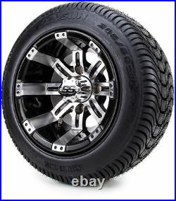 Golf Cart Wheels and Tires Combo 10 Tempest Machine/Black Set of 4