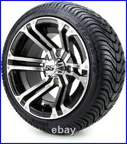 Golf Cart Wheels and Tires Combo 12 Enforcer Machined/Black Set of 4