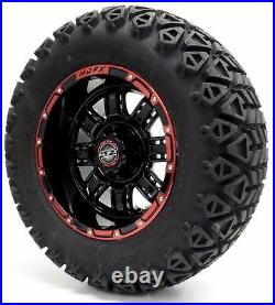 Golf Cart Wheels and Tires Combo 12 Madjax Transformer Red/Black Set of 4