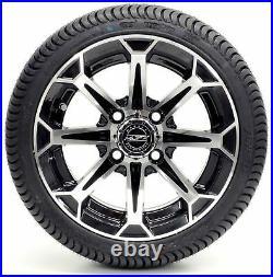 Golf Cart Wheels and Tires Combo 12 Madjax Vortex Machine/Black Set of 4