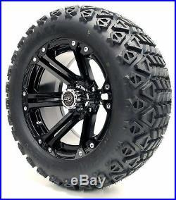 Golf Cart Wheels and Tires Combo 14 Madjax Nitro Black Set of 4