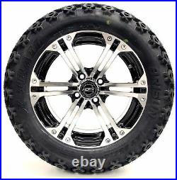 Golf Cart Wheels and Tires Combo 14 Madjax Nitro Machined/Black Set of 4
