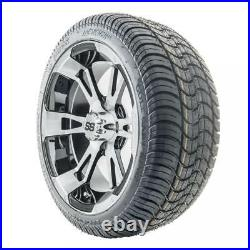Golf Cart Wheels and Tires Combo 14 RHOX SS RX340 with Low Pro Tires Set of 4