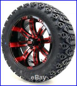 Golf Cart Wheels and Tires Combo 14 Tempest SS Black and Red Set of 4