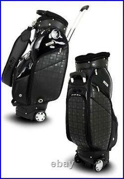 HONMA 2020 CB12018 Unisex Golf Wheeled Caddie Cart Bag 9inch, 7Way, PU, 4.3kg-Black