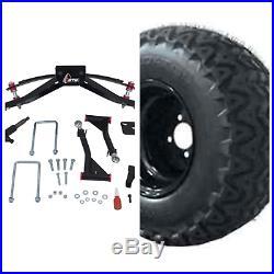 Lift kit & Wheel Tire Combo Club Car Precedent & DS Golf Cart 10 inch 23 22