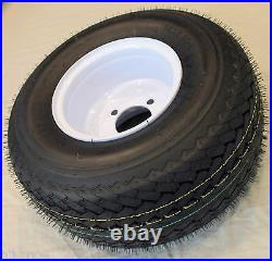 Lot of 2 18x8.50-8 LRB 4 PR Bias Golf Cart Tire on 8 4 Lug White Steel Wheel