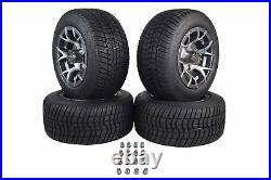 MASSFX Pit Viper Golf Cart Gunmetal Wheel 205/50-10 Tire 10x7 4/101.6 Rim 4 SET
