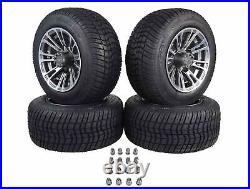 MASSFX QUAKE Golf Cart Gunmetal Wheel 205/50-10 Tire 10x7 4/101.6 4/4 Rim 4 PACK