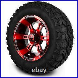 MODZ 12 Ambush Red and Black Golf Cart Wheels and MODZ Gripz Tires (22x10-12)