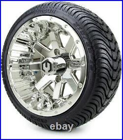 MODZ 12 Assault Chrome Golf Cart Wheels and Tires (215-35-12) Set of 4