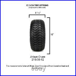 MODZ 12 Mauler Black Ball Mill Golf Cart Wheels and Tires (215-35-12) Set of 4