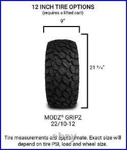 MODZ 12 Vampire Machined Black Golf Cart Wheels & MODZ Gripz Tires (22x10-12)
