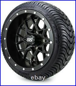 MODZ 12 Vortex Matte Black Golf Cart Wheels and Tires (215-35-12) Set of 4