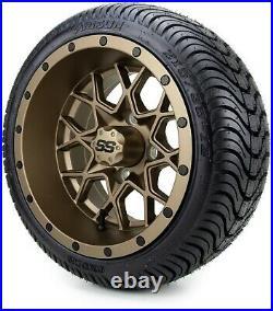 MODZ 12 Vortex Matte Bronze Golf Cart Wheels and Tires (215-35-12) Set of 4