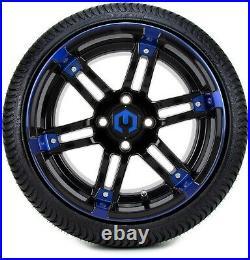 MODZ 14 Aftershock Blue & Black Golf Cart Wheels and Tires (205-30-14) Set of 4