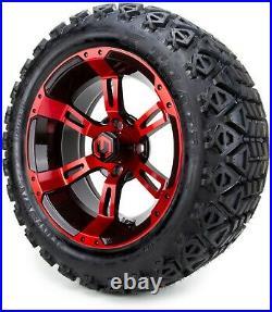MODZ 14 Ambush Red and Black Golf Cart Wheels and Tires (23x10.00-14) Set of 4