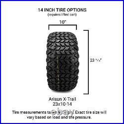 MODZ 14 Assault Chrome Golf Cart Wheels and Tires (23x10.00-14) Set of 4