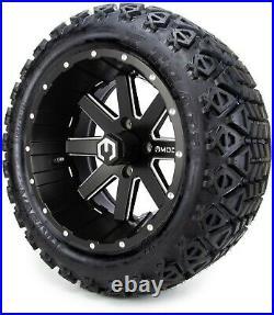 MODZ 14 Assault Matte Black Golf Cart Wheels and Tires (23x10.00-14) Set of 4