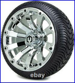 MODZ 14 Bomber Chrome Golf Cart Wheels and Tires (205-30-14) Set of 4