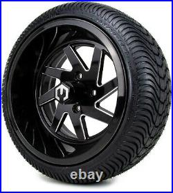 MODZ 14 Fury Black Ball Mill Golf Cart Wheels and Tires (205-30-14) Set of 4