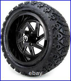 MODZ 14 Fury Black Ball Mill Golf Cart Wheels and Tires (23x10.00-14) Set of 4
