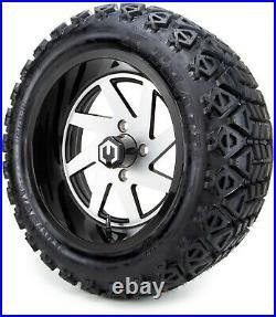 MODZ 14 Fury Glossy Machine Golf Cart Wheels and Tires (23x10.00-14) Set of 4