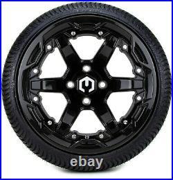 MODZ 14 Gladiator Glossy Black Golf Cart Wheels and Tires (205-30-14) Set of 4