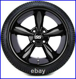 MODZ 14 Godfather Glossy Black Golf Cart Wheels and Tires (205-30-14) Set of 4