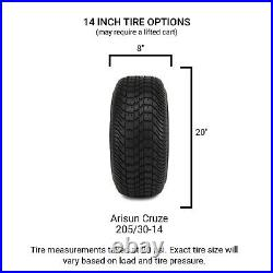 MODZ 14 Mauler Black Ball Mill Golf Cart Wheels and Tires (205-30-14) Set of 4