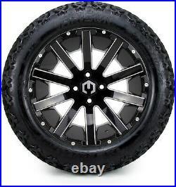 MODZ 14 Mauler Black Ball Mill Golf Cart Wheels and Tires (23x10-14) Set of 4