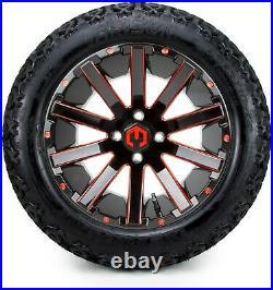 MODZ 14 Mauler Red Ball Mill Golf Cart Wheels and Tires (23x10-14) Set of 4