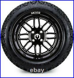 MODZ 14 Mayhem Black Ball Golf Cart Wheels and Tires (23x10.00-14) Set of 4