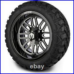 MODZ 14 Mayhem Black Ball Mill Golf Cart Wheels and MODZ Gripz Tires (22x10-14)