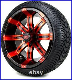 MODZ 14 Tempest Red and Black Golf Cart Wheels and Tires (205-30-14) Set of 4
